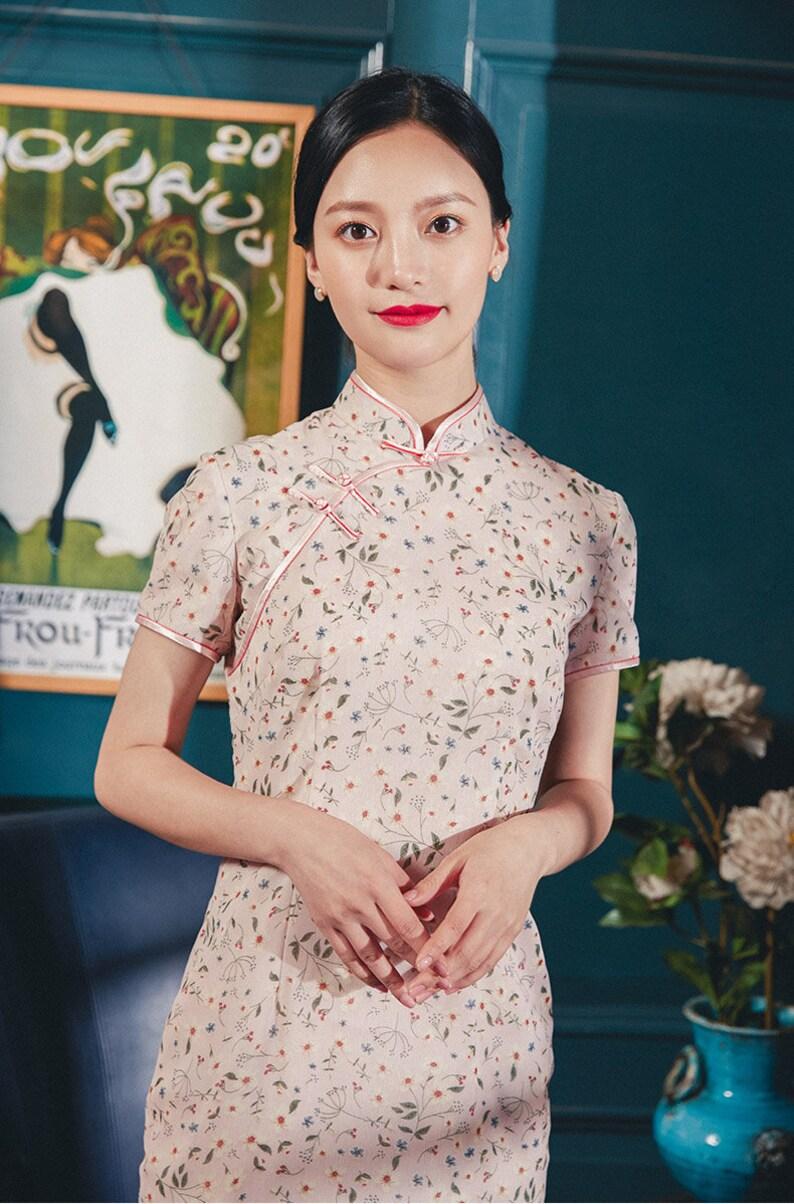 a2eb54d2b5160 Pink Cheongsam Dress Pink Chinese Qipao Pink Collared Dress
