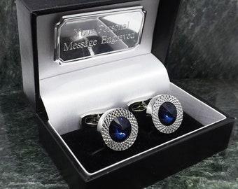 76867bf57895 Swarovski Cufflinks Personalised Cufflinks Crystal Cufflinks Gem Stone  Cufflinks Blue cufflinks Mens Gift Birthday Cuff Link Anniversary