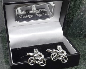 Select Gifts Bicycle Cyclist Crank Engraved Personalised Gold Chain Cufflinks with Pouch