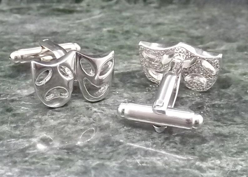 Silver Mask cufflinks Personalised Cufflinks Theatre Cufflinks Actor Actress Cuff links wedding Cufflinks Mens Gift Birthday Anniversary