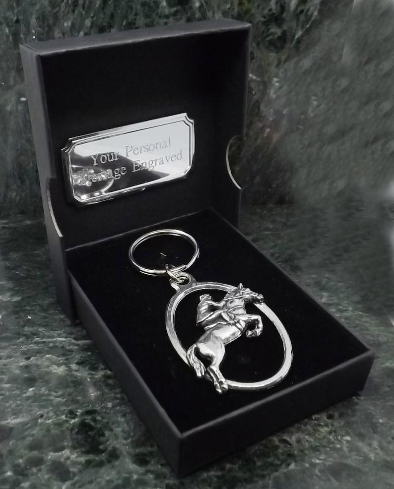 Silver Showjumping Horse English Pewter Keyring Handmade In England Key Ring New