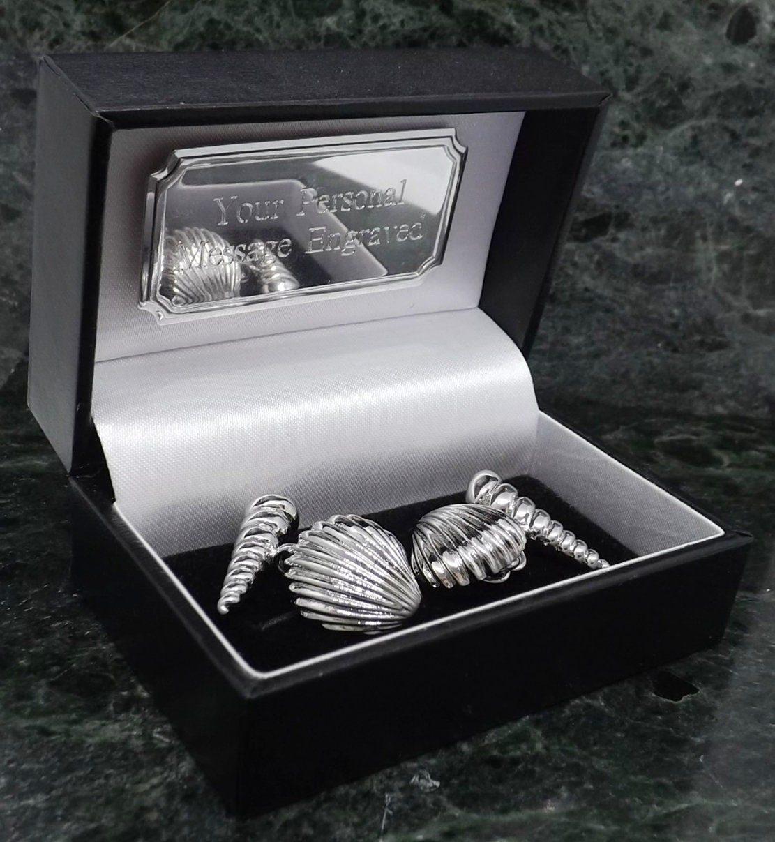 Select Gifts Cuff Links Double Wrap Around~Watch Chain Cufflinks~Mother of Pearl Engraved Personalised Box