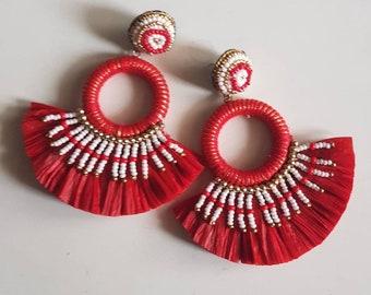 Christmas red hoop Handmade Bridal Red Earrings,Wedding oversize earring,Red Embellished hoop earring Statement handmade Red Earring