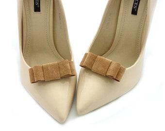 Women/'s Shoe Accessories  1940/'s Brown Suede Shoe Clips  Vintage Shoe Adornment