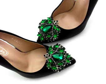 Brown and Green Feather Shoe Jewelry. with a Green Mother of Pearl Focal Bead Feathered Wedding Shoe Clips