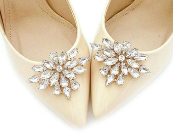 066411880 Jewelry gold shoe clips shoes clip wedding bridal decorations rhinestones  crystal - Judaeve