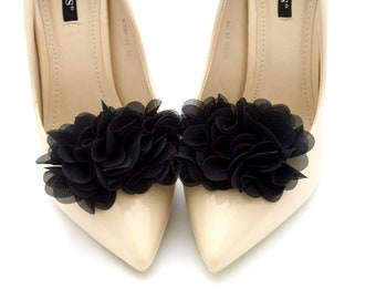 19c4e27c0b5 black shoe clips pompoms flowers black shoe clips Judaeve