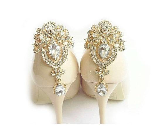 1ac9fdee8 Złote Biżuteryjne Klipsy do butów na tył buta JUDAEVE | Etsy