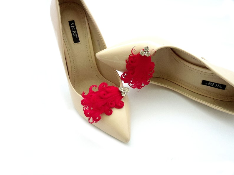 red feathers with clear crystal shoe clips wedding silver crystals jewelry decoration for shoes clips for shoes sparkly stones Judaeve