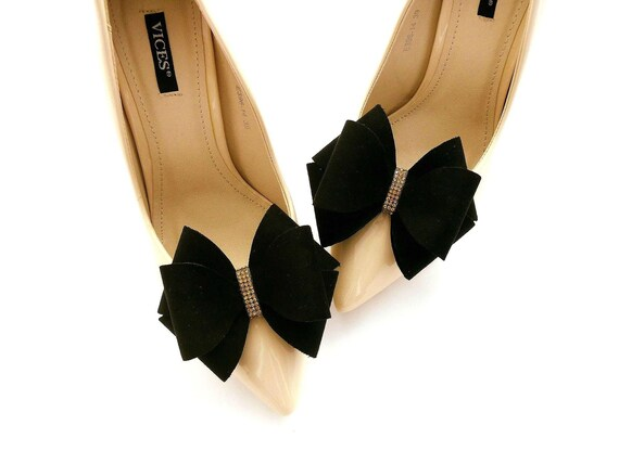 Suede bows black shoe clips Judaeve