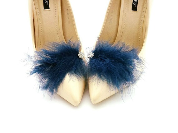 Blue Feathers with crystal- Mififi Shoe Clips Clips for shoes Bride shoes Handmade wedding shoes decorations Wedding shoes decorations