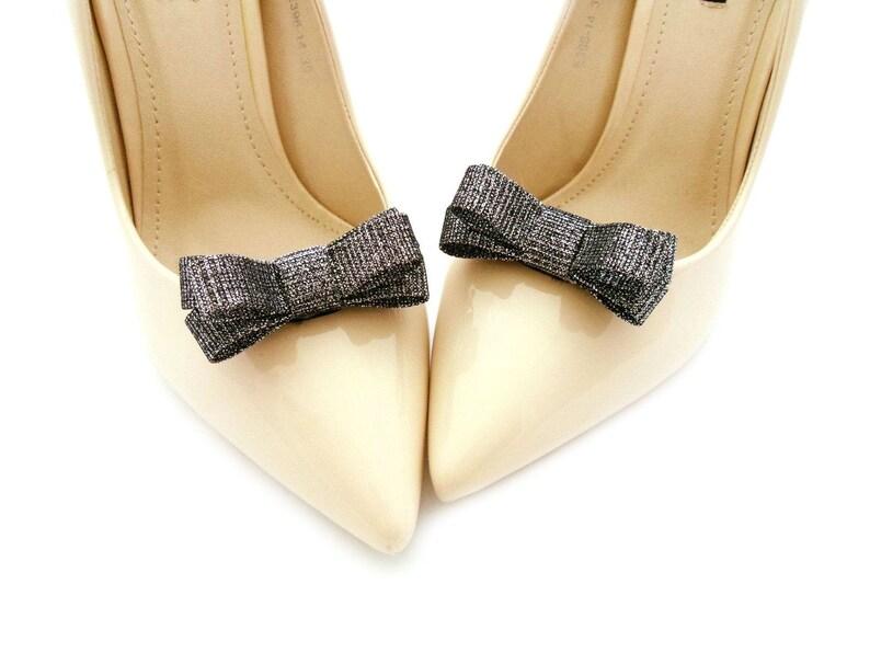 silver shoes bows for shoes black bows shoe clips for shoe black shoe clips with silver shiny effect wedding shoe clips bows shoe clips