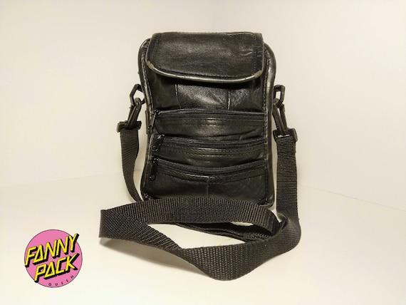 Sac à bandoulière sac banane en cuir noir Vintage