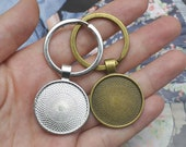 25mm keychain blanks base,1 in keyring,1 quot Round photo keychain kits,Silver Keyring, Brass Car Key holder,DIY jewelry findings (KC03)
