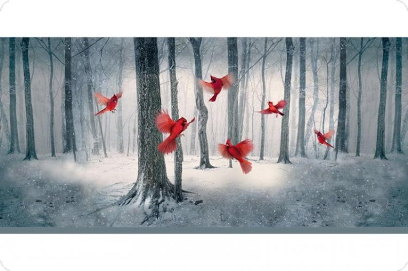 rich color beautiful Hoffman Cardinal Panel Digital Cuddle Winter soft