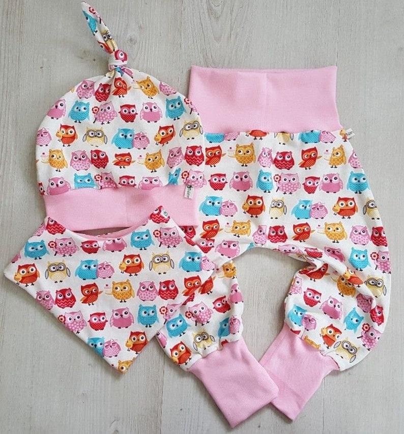 Babyset Babykleidung Gr.50-98  Pumphose Halstuch Beanie Anker maritim unisex