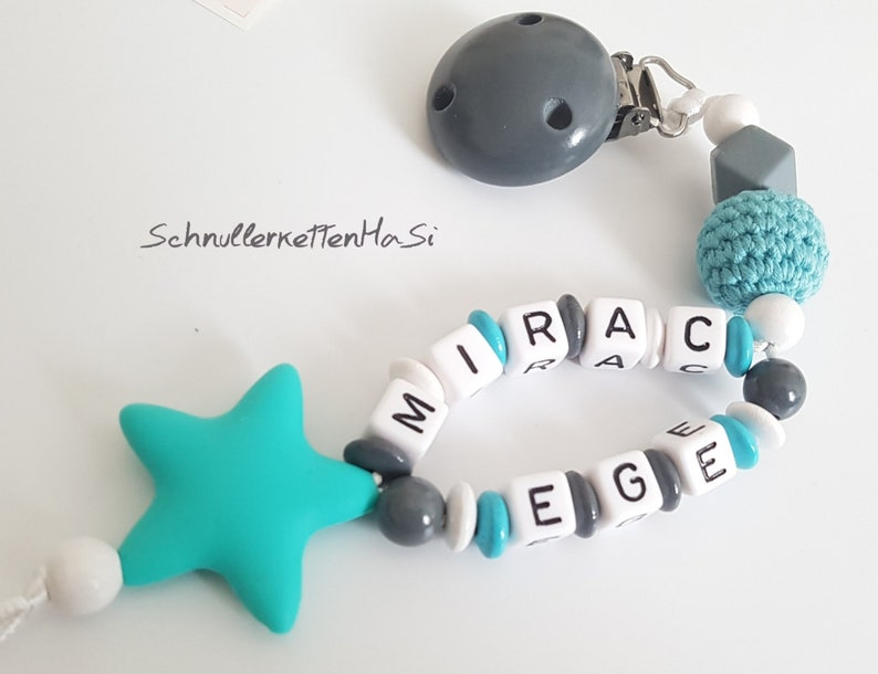 Pacifier necklace with double names turquoise dark lgrey young girl nuggi chain baby gifts gift set baby baby shower baby part photoshoting