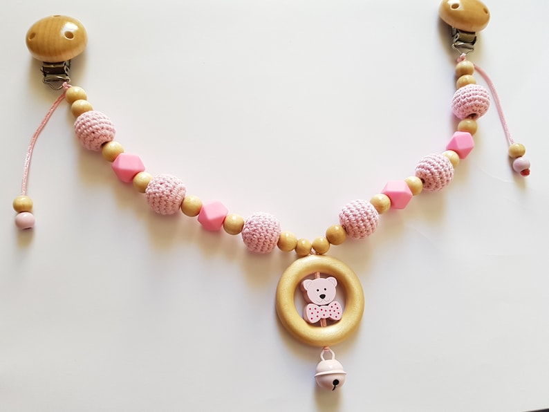 bed trailer gift bell crochet baby gifts silicone Stroller necklace crochet pearl bear MaxiCosi necklace baby safe baptism hexagon