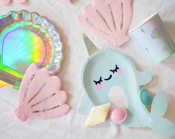Narwhal party decoration for children's birthday including foil balloon and table decoration for up to 6 people