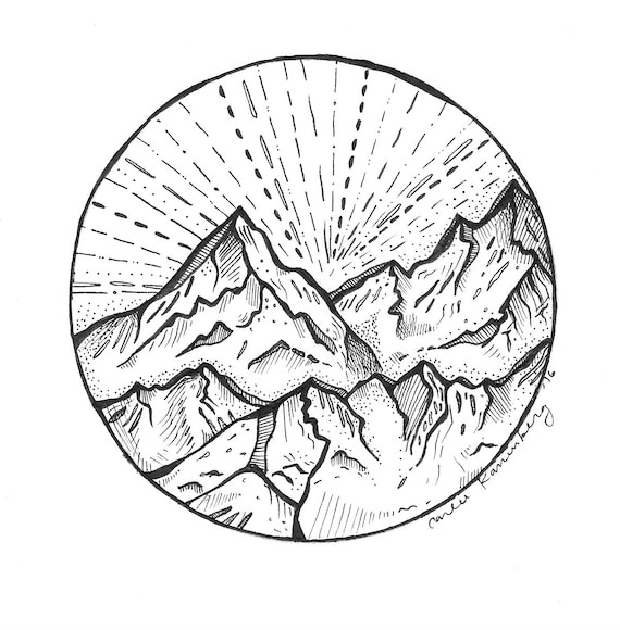 Mountain Drawing Etsy Artists have taken inspiration from mountains since … forever. mountain drawing