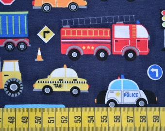 jersey, cotton jersey, darling, kids, vehicles, fire trucks, police, blue, colorful, 0.5 meters