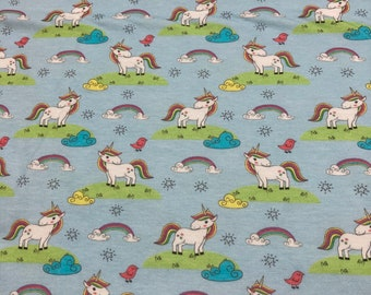 Cotton jersey unicorn, light blue, colorful