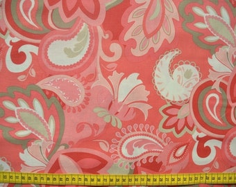 Cotton fabric, USA, designer fabric, Riley Blake, patchwork fabric, ornaments, salmon color, beige, reed green 0.5 meters