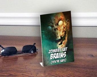 OFFICE 3D Lenticular Plaque, FUNNY Zombie eats brains statement Desk Sign