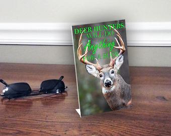 HOME OFFICE 3D Deer Hunter Buck Lenticular Plaque, FUNNY Desk Sign