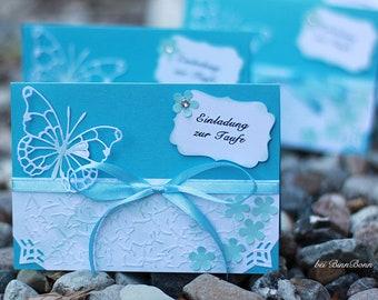12 Personalisierte Einladungskarten Einladung Zur Taufe Taufkarten  Taufeinladungen Mit Druck Schmetterling Türkis Handarbeit Binnbonn