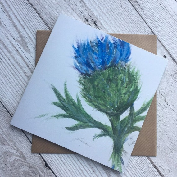 Any Occassion Purple Thistles Greeting Card Scottish Notelet Blank Card