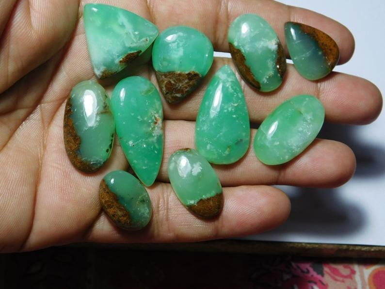 One Side Flat Natural Bio Chrysoprase cabochon Lot jewelry gemstone AAA Quality Semi Precious Hand Made hand polished Gemstone Loose Lot