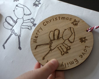Personalised Wooden Christmas Bauble With Your Drawing Engraved, Customised plaque, Personalised thoughtful gift, Gift for Grandparents