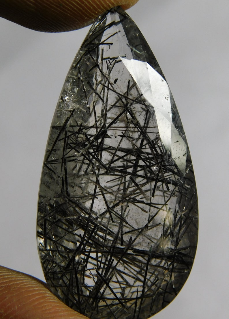 Pear Shape 41x21x11 AAA Quality Cabochons Natural  Black Rutilated Quartz in cut Loose gemstone 55 Cts. MM Free Shipping