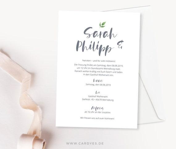 Einladungskarten Zur Hochzeit Im Handlettering Stil Etsy