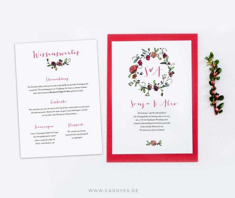Wedding invitation Set 3 cards personalized with envelope boho wedding invitation