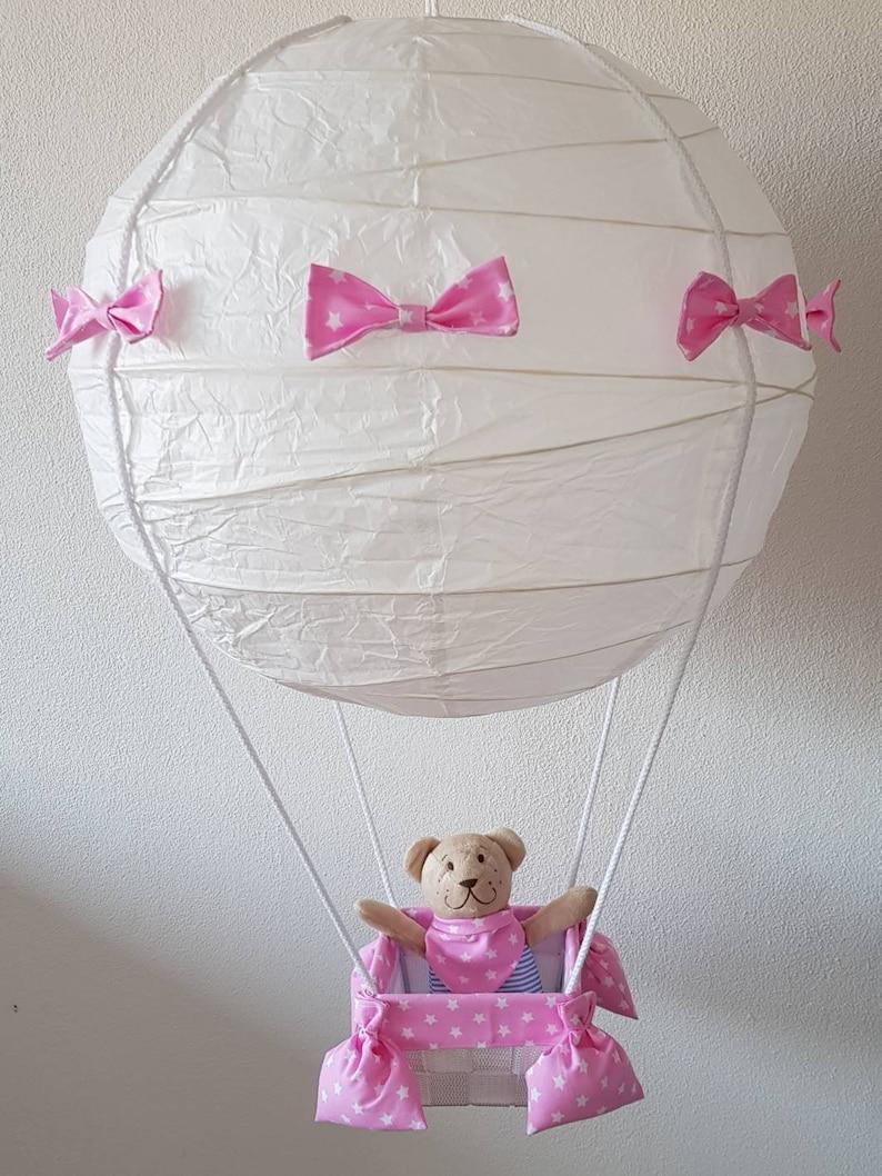 Ballon Heißluftballon Lampe Deckenlampe Kinderzimmer Dekoration Geschenk  Geburt Geburtstag Taufe Baby Junge Mädchen rosa pink lila