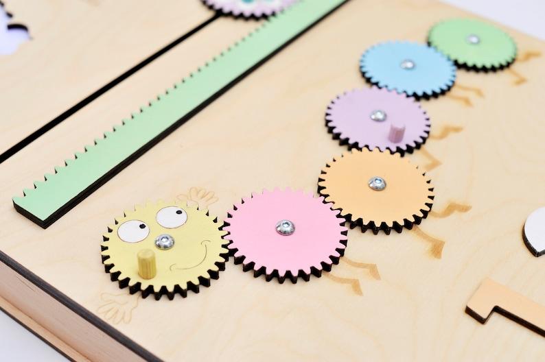 Sensory wall panel in pastel colors Montessori busy board ...