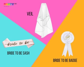 Bachelorette Party Favors Decor Kit | Bachelorette Party Sash Veil and Bride to Be  Badge | Bachelorette Party Sash Bride Bridal Shower Gift