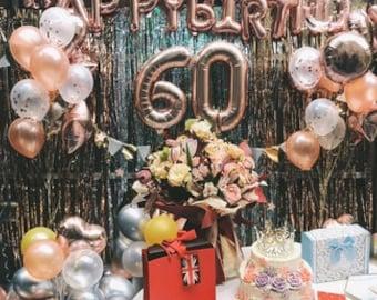 Rose Gold 60th Birthday Balloon Decoration Set
