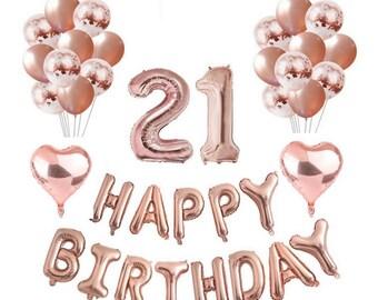 Rose Gold 21st Birthday Balloon Decoration Set