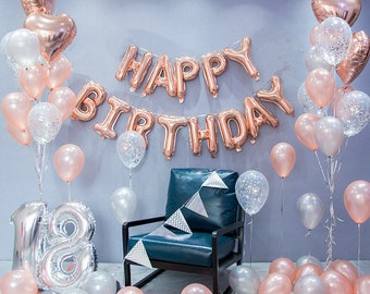 Rose Gold Happy Birthday Decoration Set