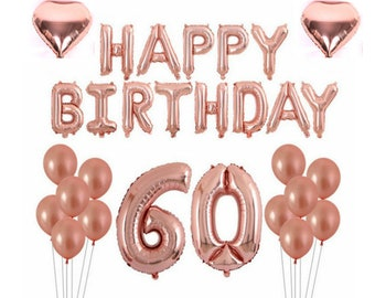 Rose Gold 60th Birthday Balloon Decoration Set
