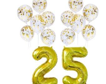 Gold Confetti 25th Birthday Balloon Decoration Set
