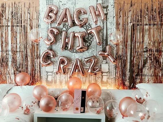 56 in long Party Decor BACH SHIT CRAZY Glitter String Sign 10 in letter height Bridal Party Bachelorette Party