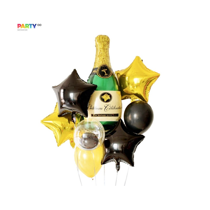 Champagne and Star Balloon Bouquet  Engagement Party Decor image 0