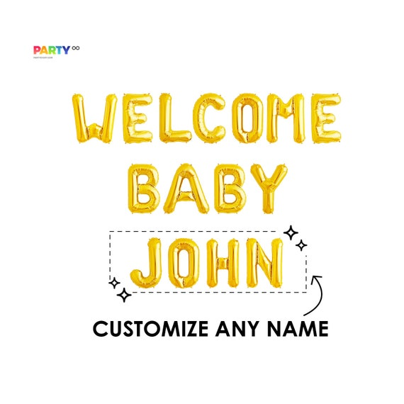 Custom Welcome Baby Sign Welcome Baby Banner Baby Name Glitter Banner Diy Baby Shower Banner With Personalized Name Mother To Be By Party Eight Catch My Party