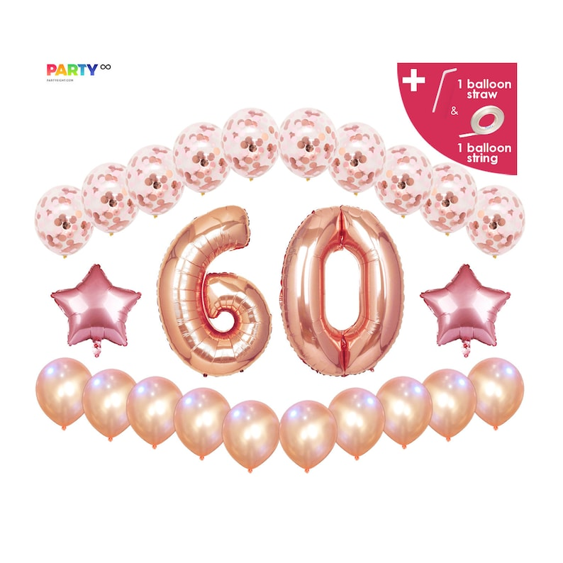 60th Birthday Balloon Decoration Set  Sixty Birthday Party Rose gold