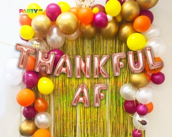 Thanksgiving Balloon Garland with THANKFUL AF Balloons | Thanksgiving Balloons Backdrop | Friendsgiving Decoration | Thanksgiving Garland