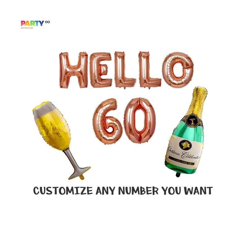 Hello 60 Rose Gold 60th Birthday Balloon Decoration Set  60th image 0